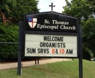 Welcome Organists Sign
