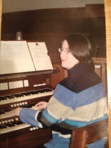Heidi at Adrian College Organ. One of the first photos of Heidi at pipe organ.