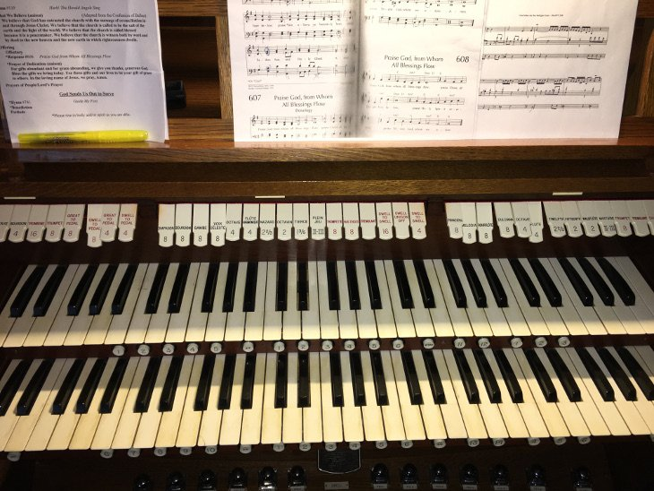 Manuals (keyboards) on the First Presbyterian Organ