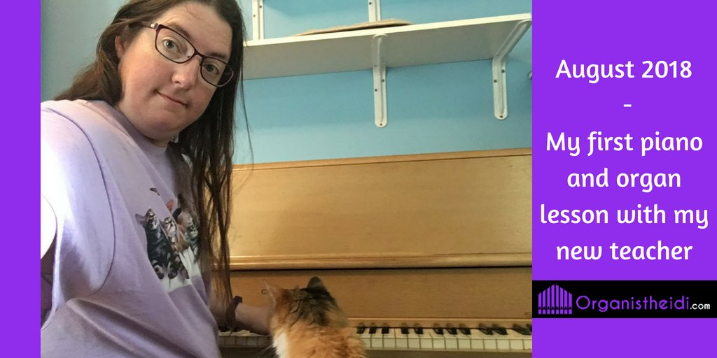 My cat Lina supervising as I practice the piano after my first lesson with the new teacher.